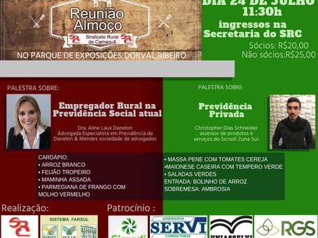 Reunião almoço do SRC debaterá a Previdência com enfoque no Produtor Rural
