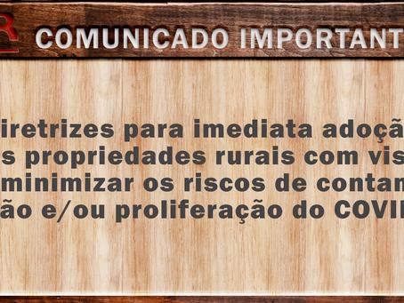 Diretrizes para minimizar a contaminação pelo COVID-19 em propriedades rurais