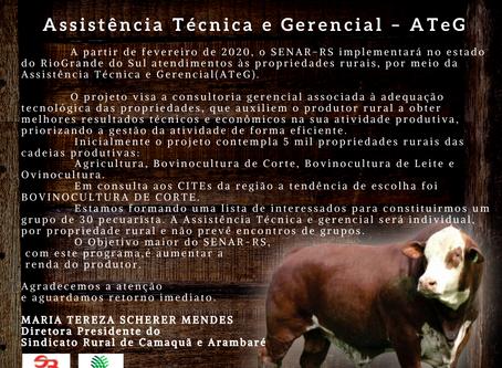 RESTAM SOMENTE 5 VAGAS PARA O PROGRAMA ASSISTÊNCIA TÉCNICA & GERENCIAL DO SENAR-RS: AT&G