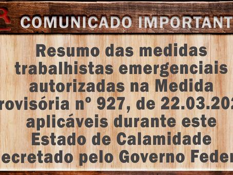 Resumo das medidas trabalhistas emergenciais autorizadas na Medida Provisória nº 927, de 22.03.2020