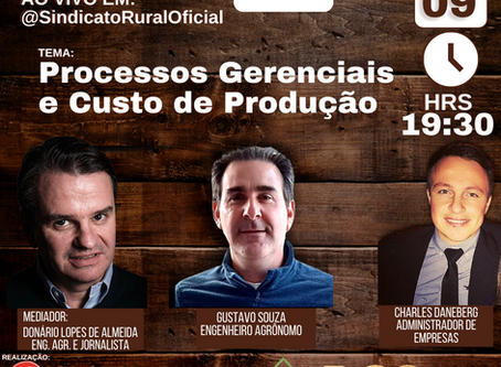 Custos de produção e aspectos gerenciais serão abordados em Live promovida pelo Sindicato Rural