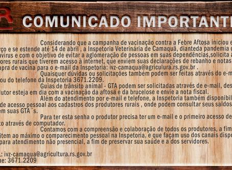 Comunicado importante da Inspetoria Veterinária de Camaquã diante da Pandemia de COVID-19