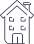 Multiple location salon software icon with building with A-frame roof and four windows