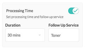 A screenshot from Bookwell's software of the development time or processing time feature where you can set a gap to accept new bookings and ending services