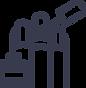Nail salon software icon with three nails and nail polish bottle and brush
