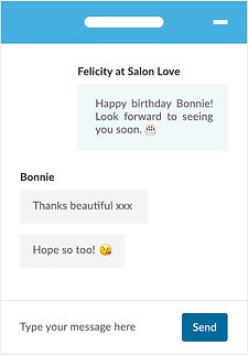 "An example chat using Bookwell's automated marketing text tools between a salon owner and their client that says ""Happy birthday Bonnie! Look forward to seeing you soon."" and the client, Bonnie replies ""Thanks beautiful xxx Hope so too!"""