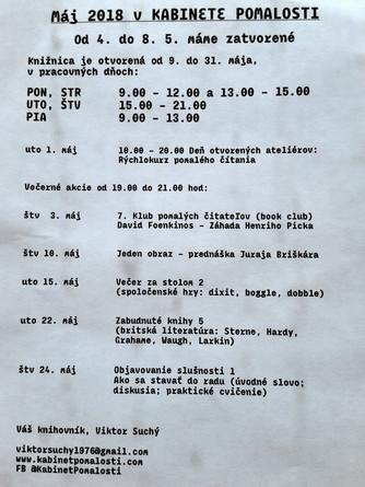 Program na máj 2018