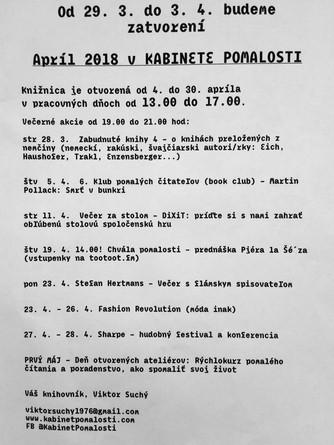 Program na apríl 2018