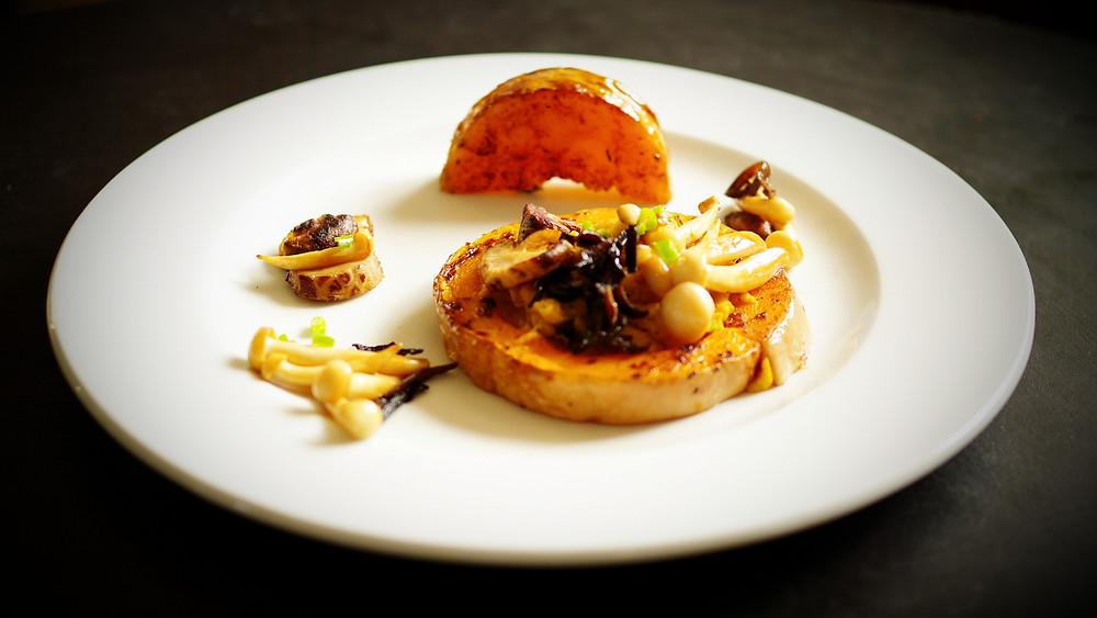 recette présentation butternut confit tahini champignons Asie