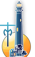 Cape May Marianist Logo (Blue lighthouse, with Marianist Cross and M. In the Background a Sunset