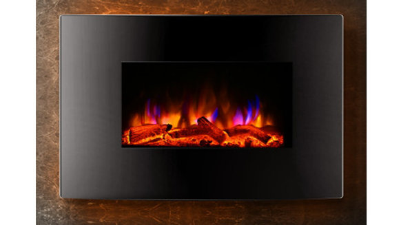 Devanti 2000W Wall Mounted Electric Fireplace Fire Log Wood Heater Realistic Fla