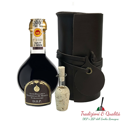 """Traditional Balsamic Vinegar of Modena PDO """"Affinato"""" in Leather Packaging"""