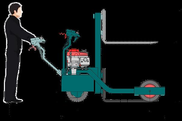 Données techniques élévateur tout terrains transpalox PR12-12 vue de côté avec opérateur