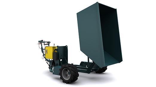 Dumper G12-00 vue de biais avec benne renversée