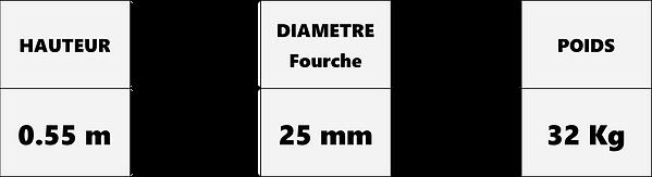 tableau données techniques fourches à dents compatible chargeur tout terrains D05-23
