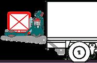 Transpalette tout terrains léger entrain de décharger une caisse d'un camion sur un hayon élévateur