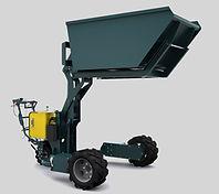 Dumper gerbeur tout terrains J10-17 vue de biais fourches et benne position haute