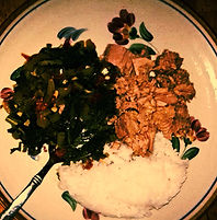 nutrition consulting, tuna with kale and plain rice