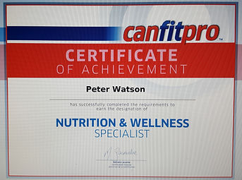 My certificate s,Peter Watson's Nutrition and wellness certificate