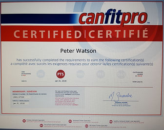 My certificates, Peter Watson's Personal Training Certificate