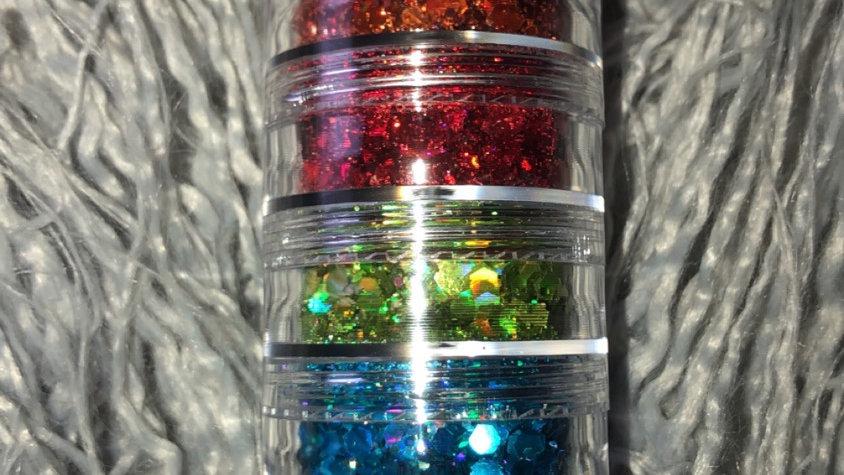Rainbow Chunky Glitter Stack