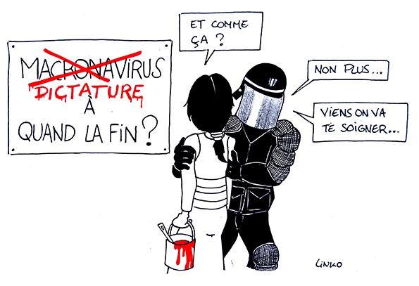 Linko-dessin-dictature-Macronavirus-covi