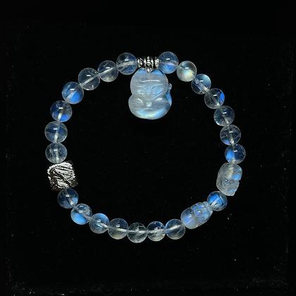 玻璃體純種月亮石手狐®配月亮石貔貅加配天鐵 (好評區7)