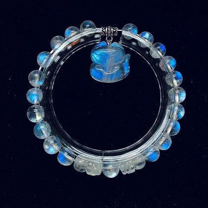 玻璃體純種月亮石手狐®配月亮石貔貅 (好評區7)