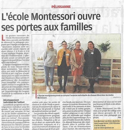 Article la provence l'école montessori les oliviers ouvre ses portes
