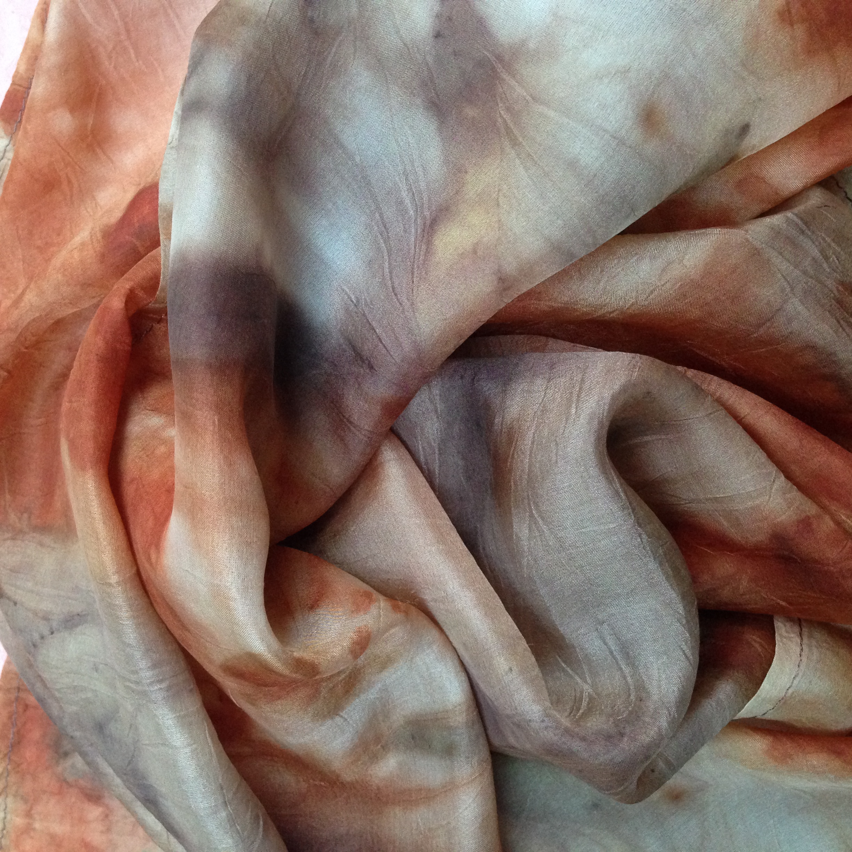 natural dye silk scarf