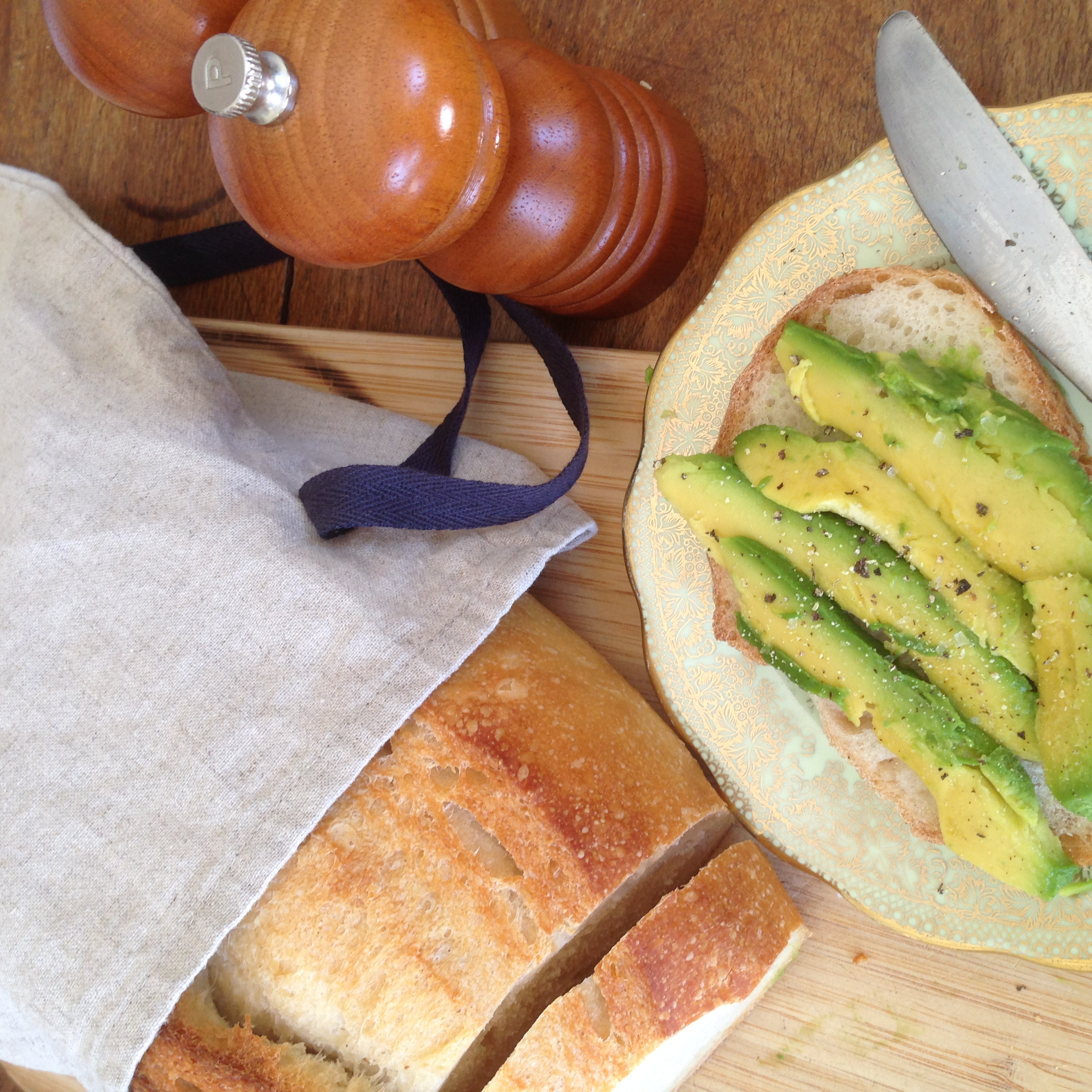 sour dough loaf with avocado