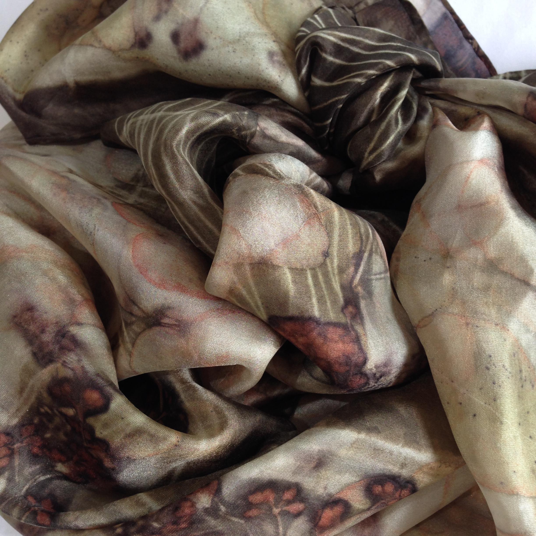natural dye eucalyptus prints on silk