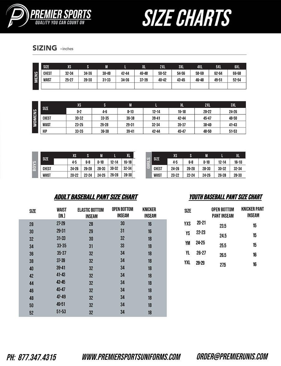 Premier Sports Size Chart