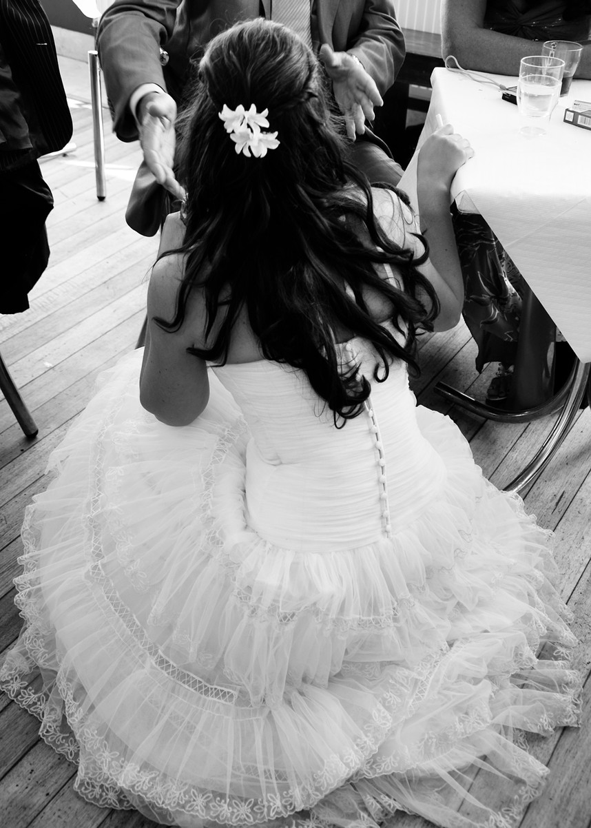 Wedding dress by Stef Kerswell photograp