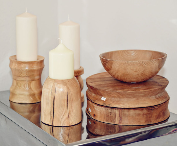 Wooden candle sticks Stef Kerswell