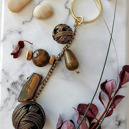 ASSORTED STONES AND BEADS KEY CHAIN