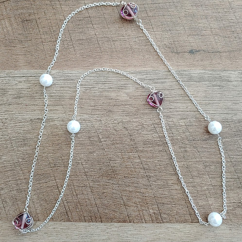 PINK STONE AND PEARL NECKLACE