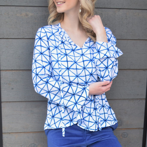 TRIANGLE PATTERNED NECKTIE BLOUSE