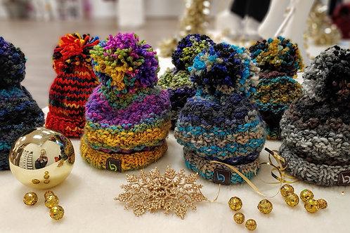 Multicolor Handmade Pompom Beanie