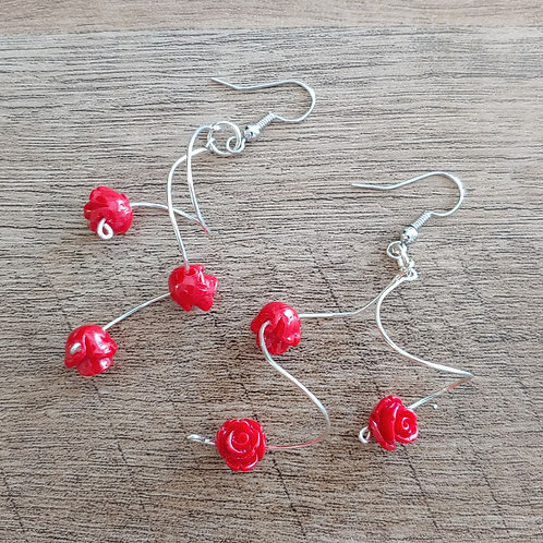 ROSES ON A WHIRLY WIRE EARRINGS