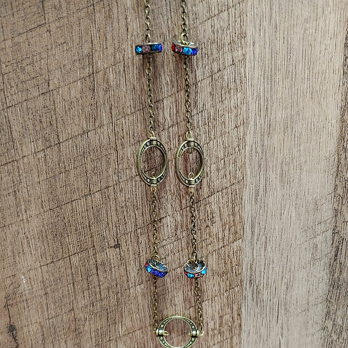 CRYSTAL AND BRONZE BEAD NECKLACE