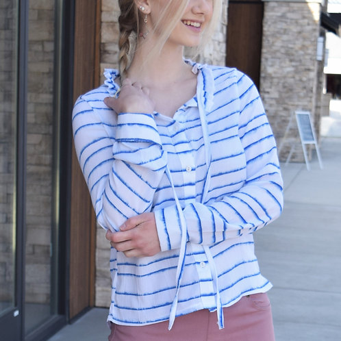 DETAILED STRIPED BLOUSE