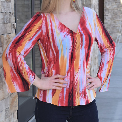 COLORFUL PUCKED BLOUSE