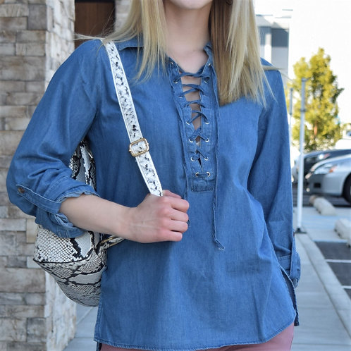 DENIM LACE DETAIL TOP