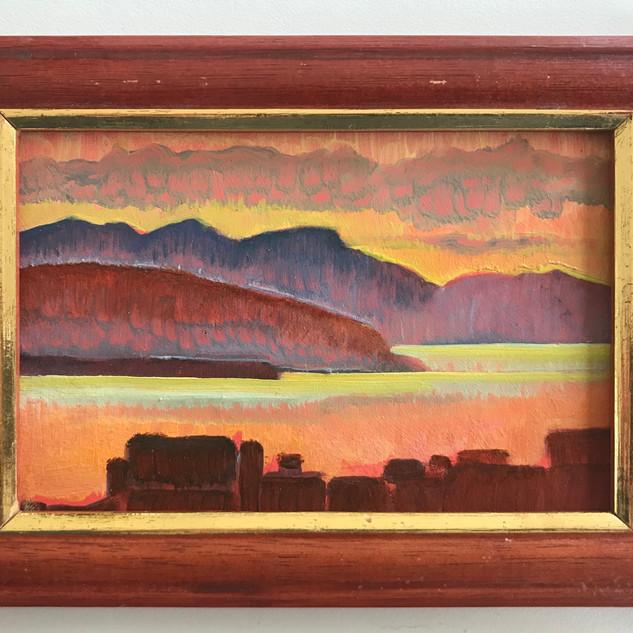 """Derwent Sunrise 4x6"""" (oil on board)"""