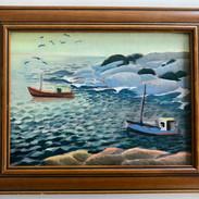 """Bicheno Boats 8x10"""" (oil on canvas)"""