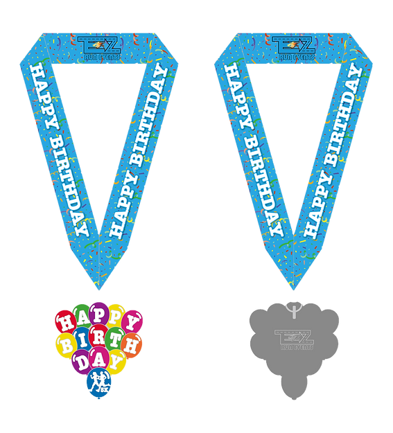 Happy Birthday 5K Medal With Ribbon 2-20
