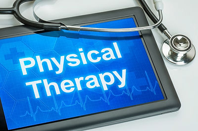 Tablet with the text Physical Therapy on