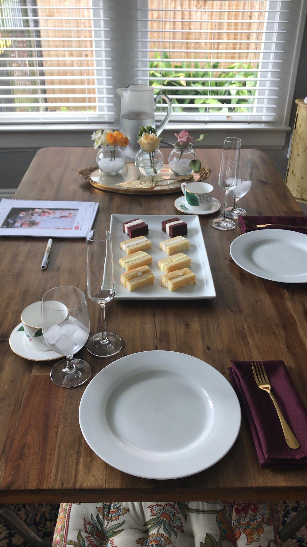 wedding cake tasting set up