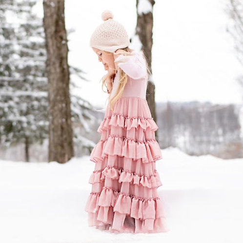 The Candy Ruffle Dress in Blush Pink